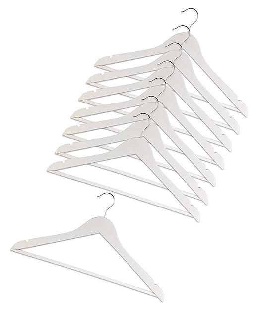 8er Set Kleiderbügel Hosenbügel Wäschebügel MORINO | Holz | Weiß Lackiert |  Rockkerbe U0026 Hosensteg