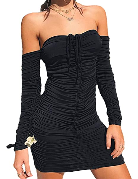 ff3605bfe4ec Haola Women s Sexy Off Shoulder Ruched Dress Long Sleeve Bodycon Party Tube Dresses  Black S