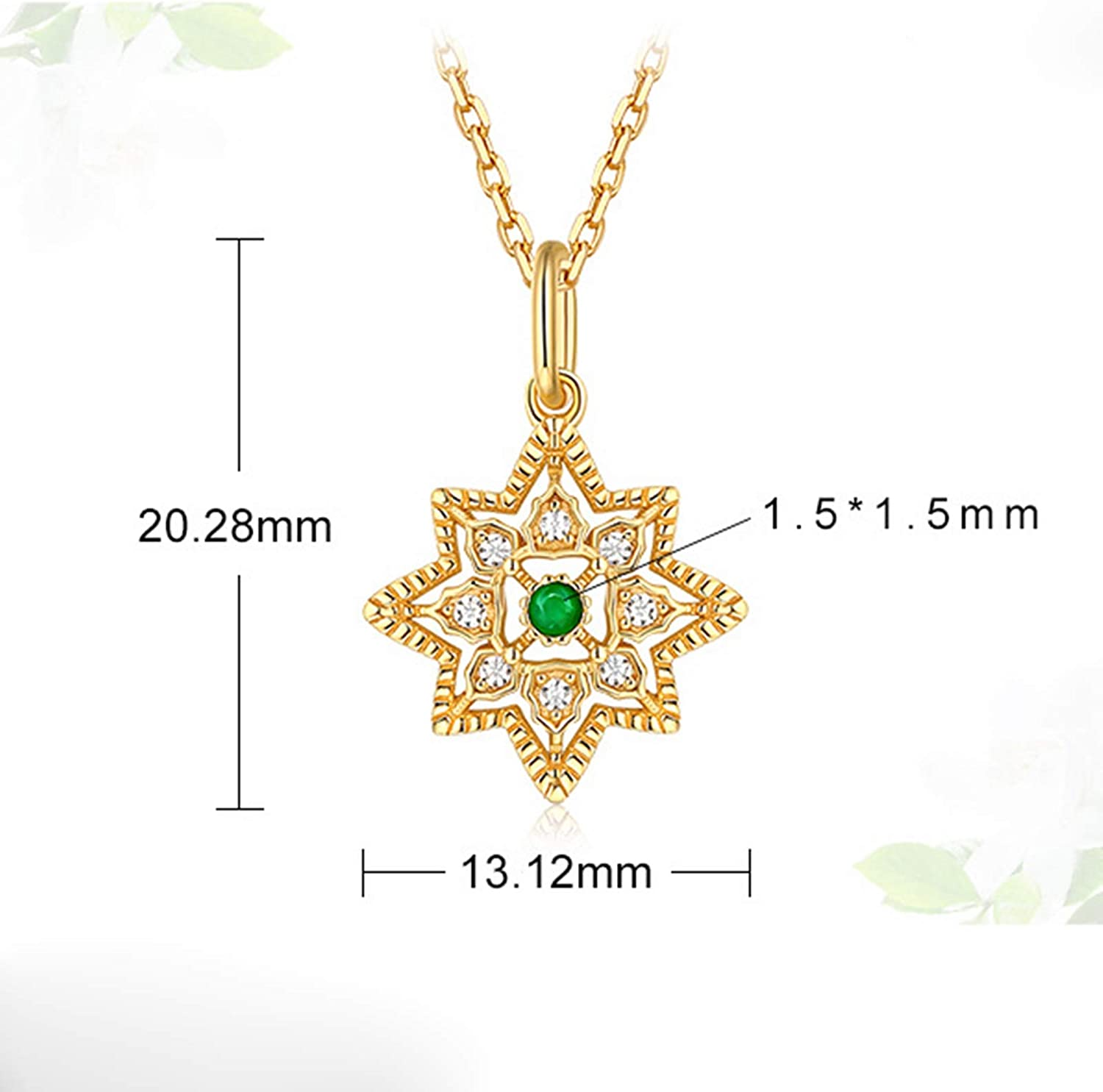 Epinki 925 Sterling Silver Necklace for Women Girls Gold Cubic Zirconia Vintage Flower Pendant Necklace