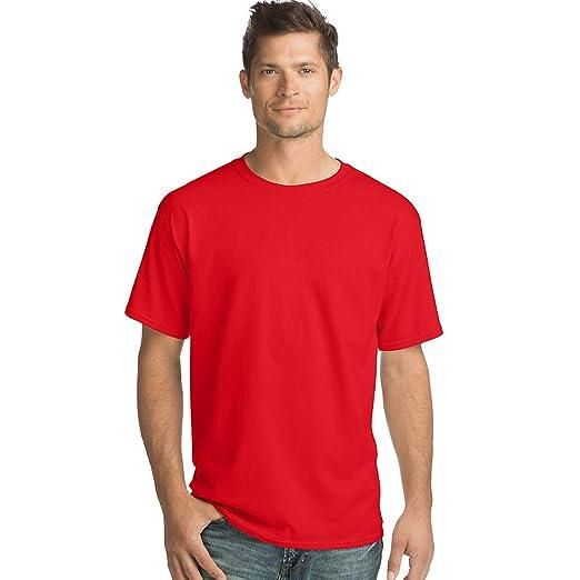c7ff36de Hanes Men's TAGLESS ComfortSoft Crewneck T-Shirt 5280 Athletic Red S