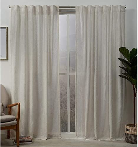 Exclusive Home Curtains Muskoka Teardrop Slub Embellished Hidden Tab Top Curtain Panel Pair, 54×96, Natural