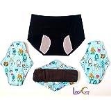 Luna Cup Menstrual Starter Kit - Reusable Period Products - 3 Bamboo Charcoal Period Pads 1 Menstrual Panties (4)