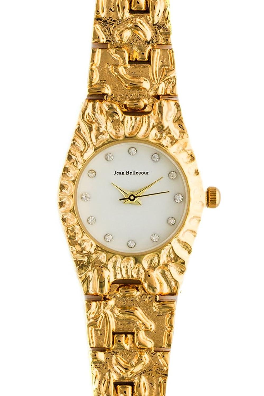 Jean Bellecour – reds23-gw Damen-Armbanduhr 045J699 Analog weiß Armband Stahl vergoldet Gold