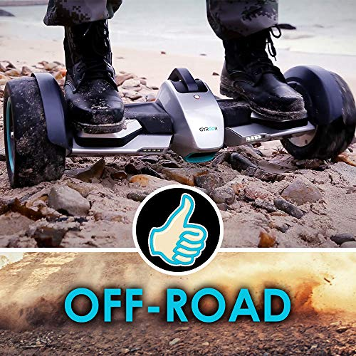 "Gyroor G-F1 Hoverboard,8.5"" Off Road Hover Board with Bluetooth Speaker&LED Lights,Fastest Racing Self Balancing Scooter with App for Kids and Adult,UL2272 Certified(Silver)"