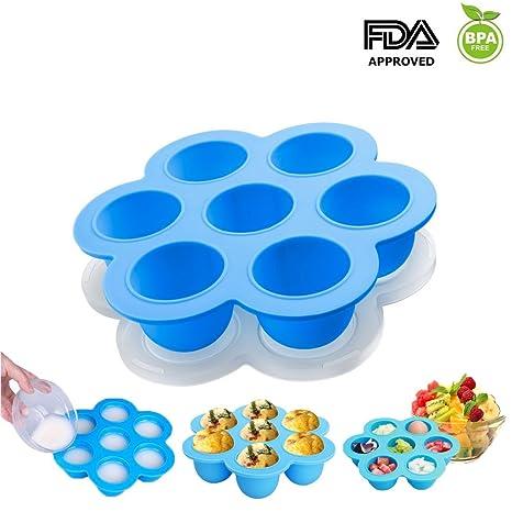 Moldes de silicona para mini-porciones para olla exprés, bandeja de almacenamiento para congelador