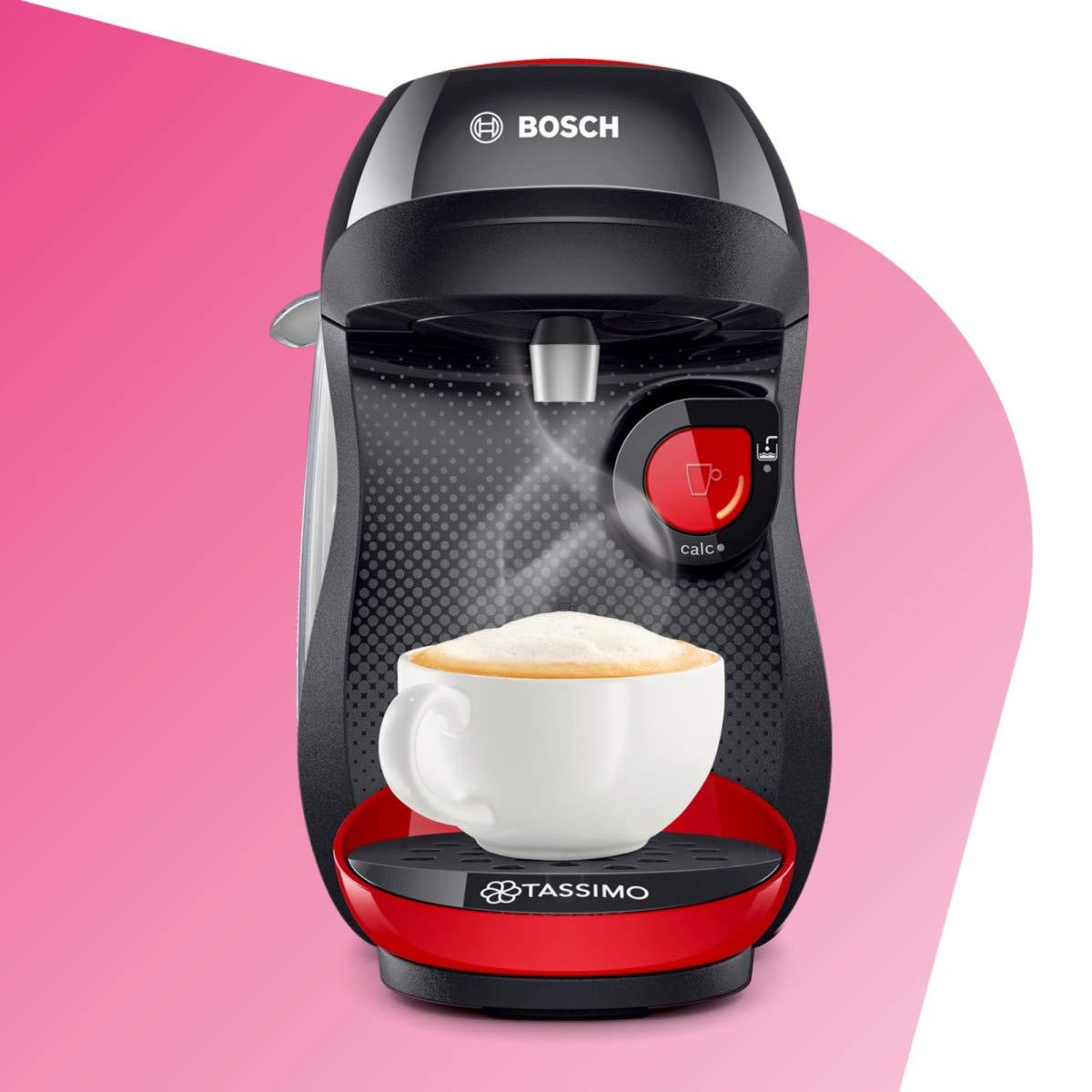 Bosch Tas1003 Cafetera Monodosis Multibebida, 1400 W, 0.7 litros, plástico, Rojo/Negro