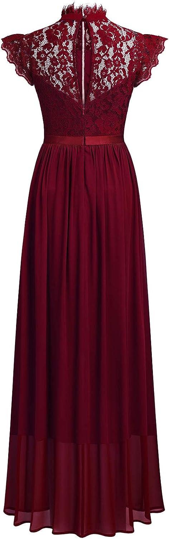 MIUSOL Womens Lace Chiffon Mock Neck Long Evening Party Dress