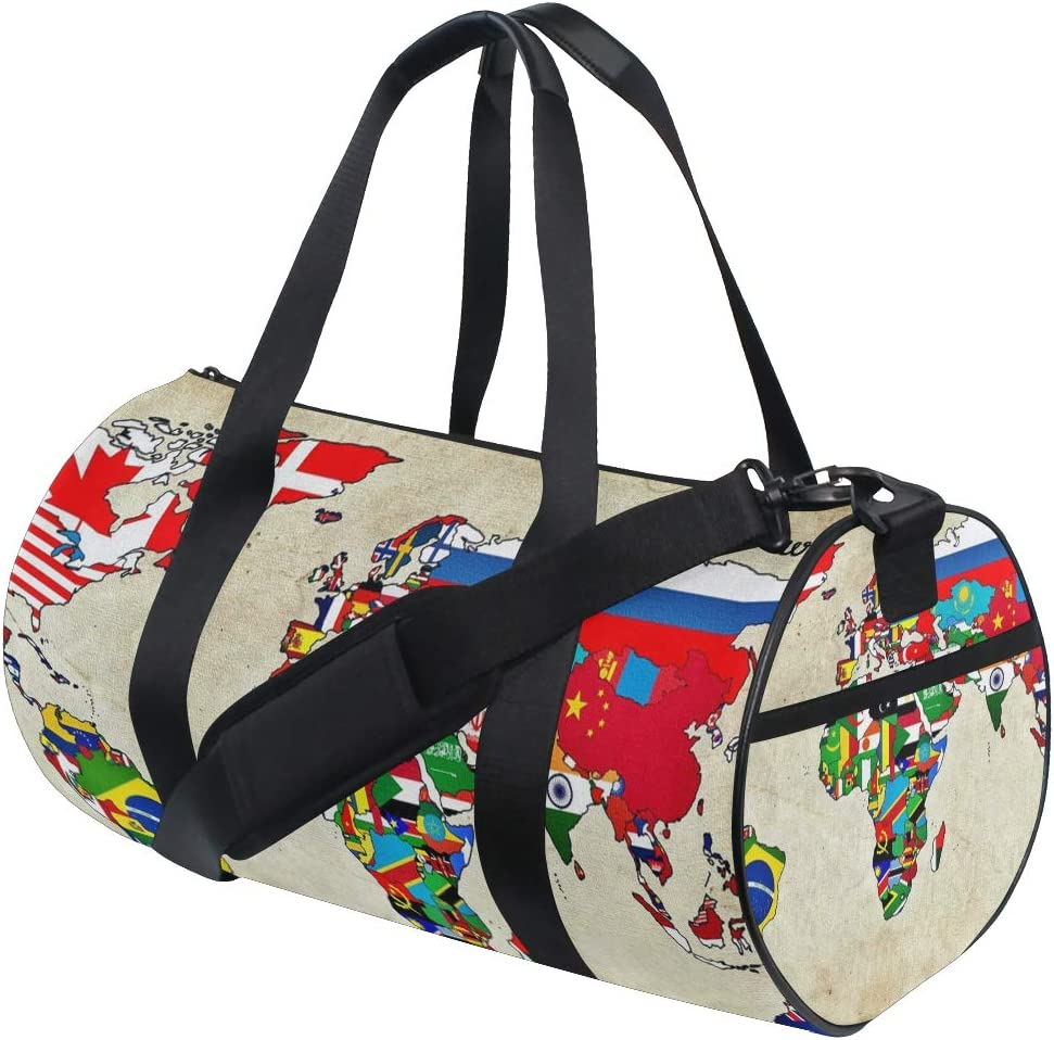 Geometric Large Travel Durm Bag with Pockets for Women and Men Foldable Duffel Bags for Luggage