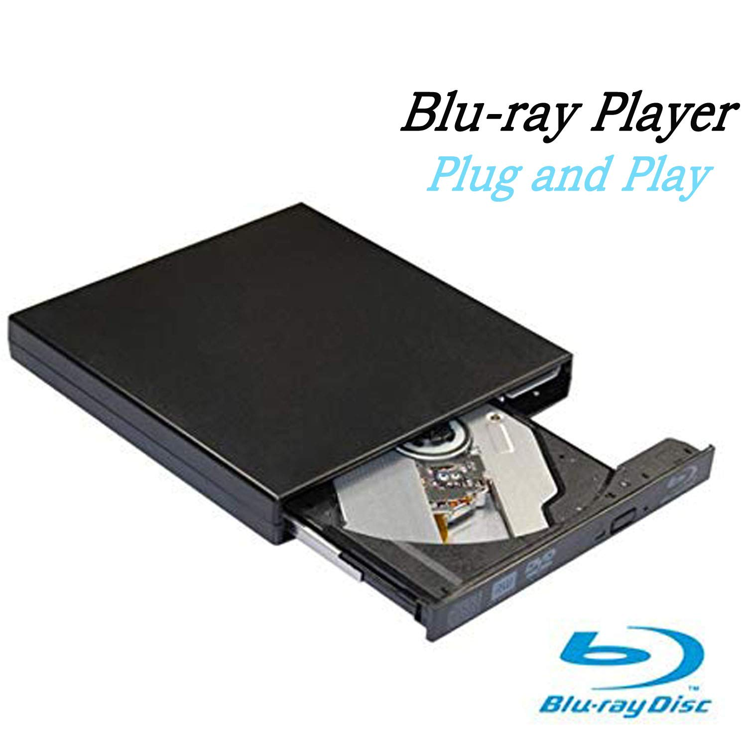 Ploveyy Blu-Ray Drive USB External Portable DVD Burner BD-ROM DVD/CD-RW/ROM Writer for Windows 2000/XP/Vista/Win 7/Win 8/Win 10 Notebook PC Desktop Computer,Plug and Play (Black) by Ploveyy (Image #1)