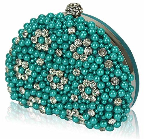 TrendStar Mujeres Perla perlado falso diamante embrague bolsa Bal de Promo de los partes boda de bolso turquesa