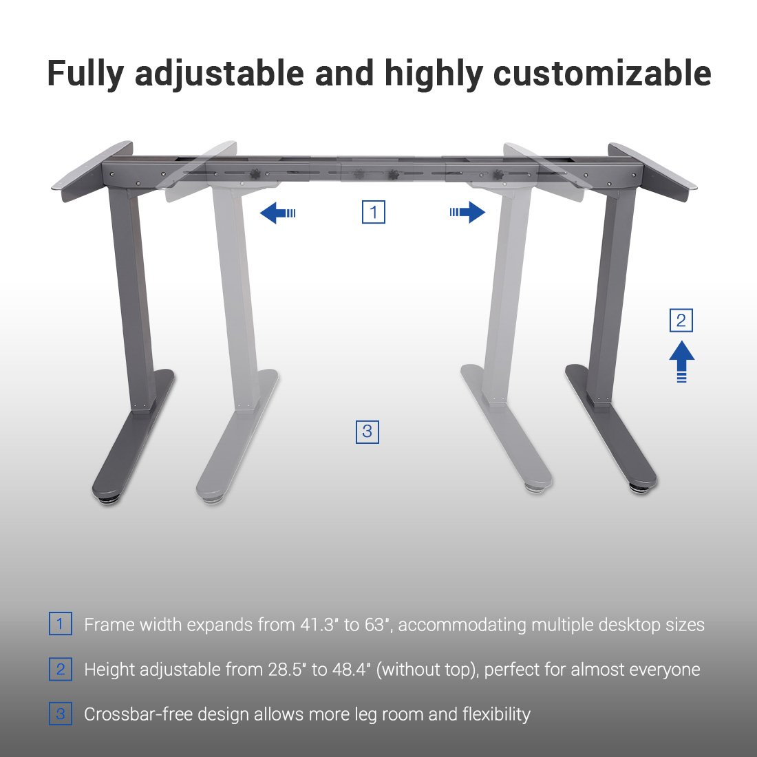 FlexiSpot 48 Electric Height Adjustable Desk Frame Sit Stand Desk W 7-Button Silver