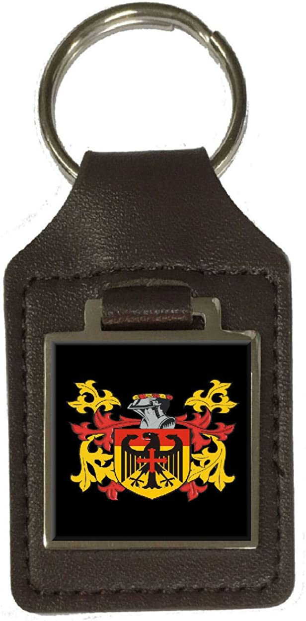Hickman Family Crest Surname Coat Of Arms Brown Leather Keyring Engraved