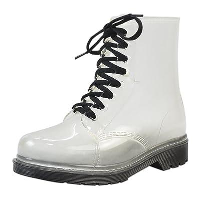 1b50c1852562b Women's Transparent Waterproof Rain Boots Lace-up Round Toe Martin Rain  Shoes