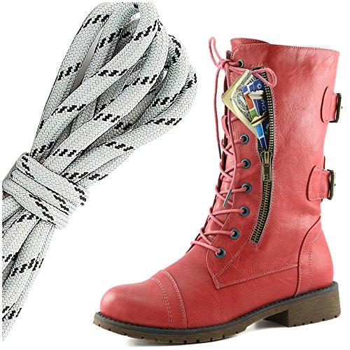 Dailyshoes Donna Militare Allacciatura Fibbia Da Combattimento Stivali Metà Ginocchio Alta Tasca Esclusiva Per Carte Di Credito, Grigio Nero Elegante Rosso