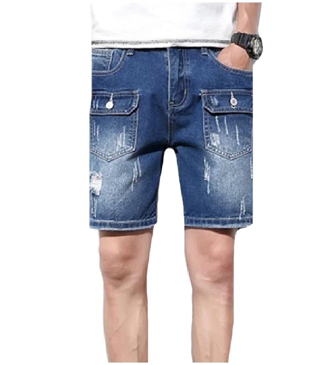 ba7779e2f7 Abetteric Men's Straight Trousers Summer Holes Pockets 1/2 Length Oversize  Cowboy Faded Baggy Washed