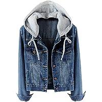 LifeShe Women's Casual Detachable Hoodie Denim Jacket