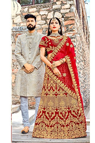 Da Facioun Indian Women Designer Partywear Ethnic Traditional Lehenga Choli. Da Facioun Femmes Indiennes Concepteur Choli Lehenga Traditionnels Ethniques Partywear. Red 3 Rouge 3