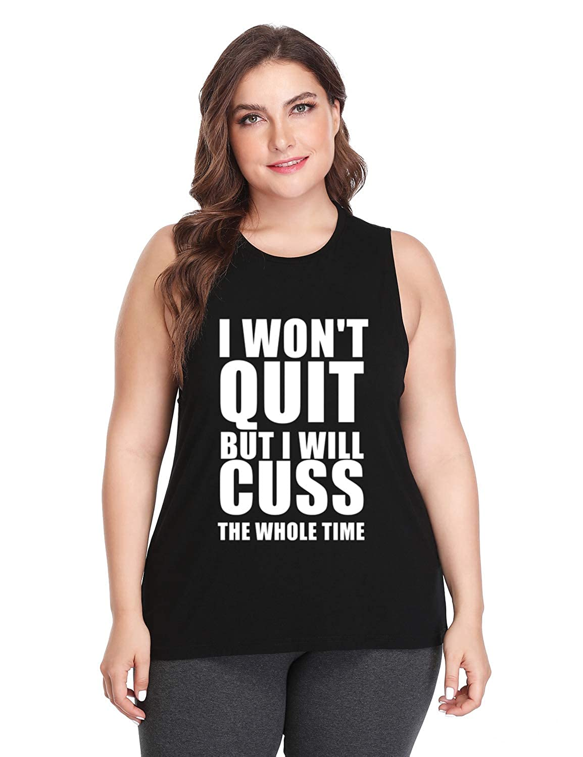 ec73c972197e6 Fannoo Plus Size Workout Tank Tops for Women-I Won't Quit Womens Funny  Saying Fitness Gym Racerback Sleeveless Shirts