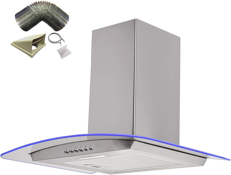 Sia 60 cm LED de 3 colores borde iluminado cristal curvado St/acero campana + 3 M juego de conductos: Amazon.es: Grandes electrodomésticos