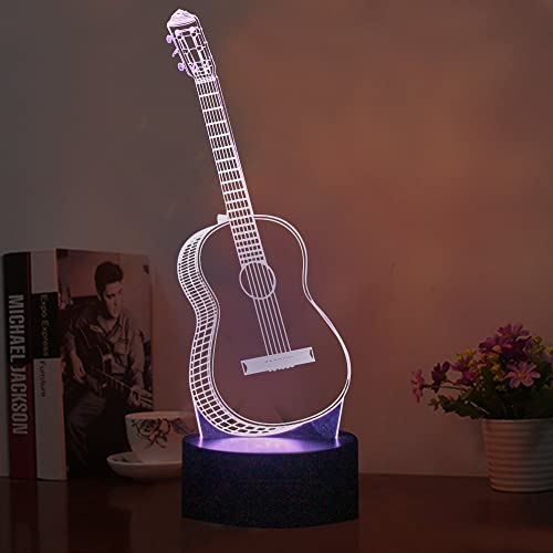 led night light 3d illusion lamp guitar nightlights 7 colors changing touch usb