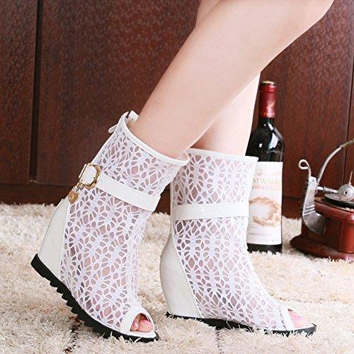 COOLCEPT Mujer Moda Peep Toe Sandalias En aumento Zapatos With Cremallera Blanco