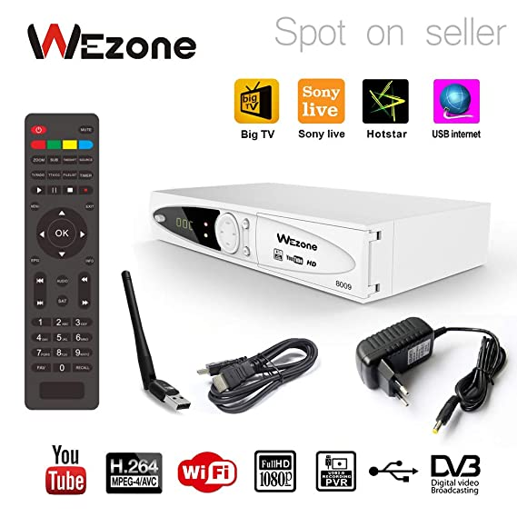 Wezone 8009 DVB-S2 Satellite TV Receiver Set Top Box with HD Cable & Wifi  Dongle, HD PVR Playback via USB, Internet 2 USB Ports Support