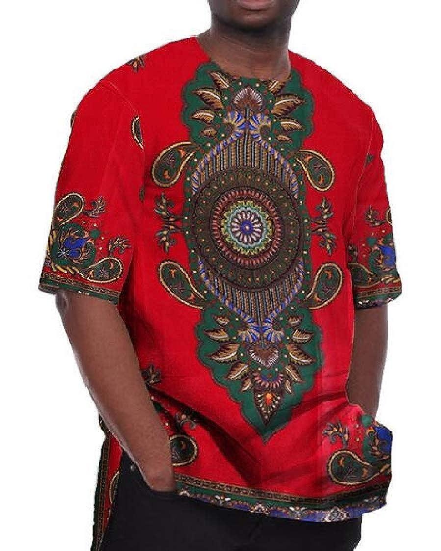 Nanquan Men Big /& Tall Dashiki Short Sleeve Crewneck African Print Tee T-Shirts
