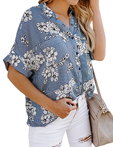 Stripe Button Front Shirt - WLLW Women Rolled Short Sleeve Button Front Stripe Shirt Floral Print Top Blouse