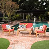 Preston 4 Piece Wood Outdoor Patio Seating Chat Set w/Red Cushions For Sale