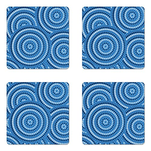 Lunarable Navy Blue Coaster Set of Four, Abstract Aboriginal Ethnic Indigenous Australian Mosaic Style Dots Boho Artwork, Square Hardboard Gloss Coasters for Drinks, Dark Blue