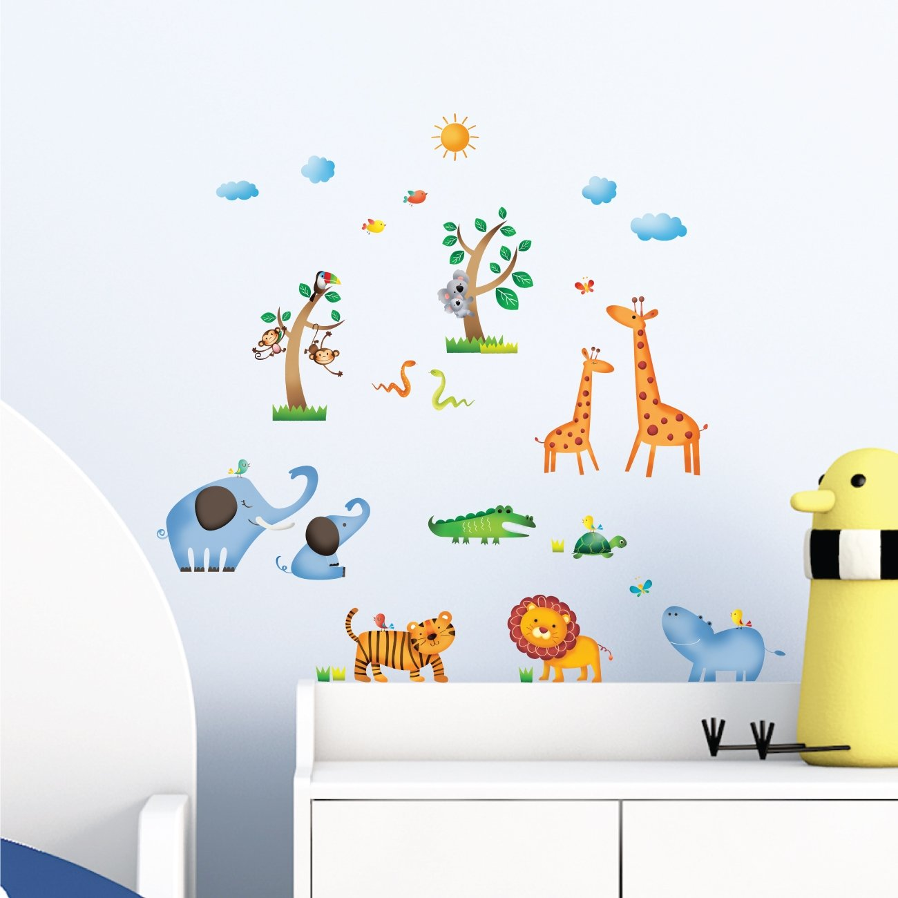 Decowall DW-1206 Wild Jungle Animals Kids Wall Stickers Wall Decals Peel and Stick Removable Wall Stickers for Kids Nursery Bedroom Living Room