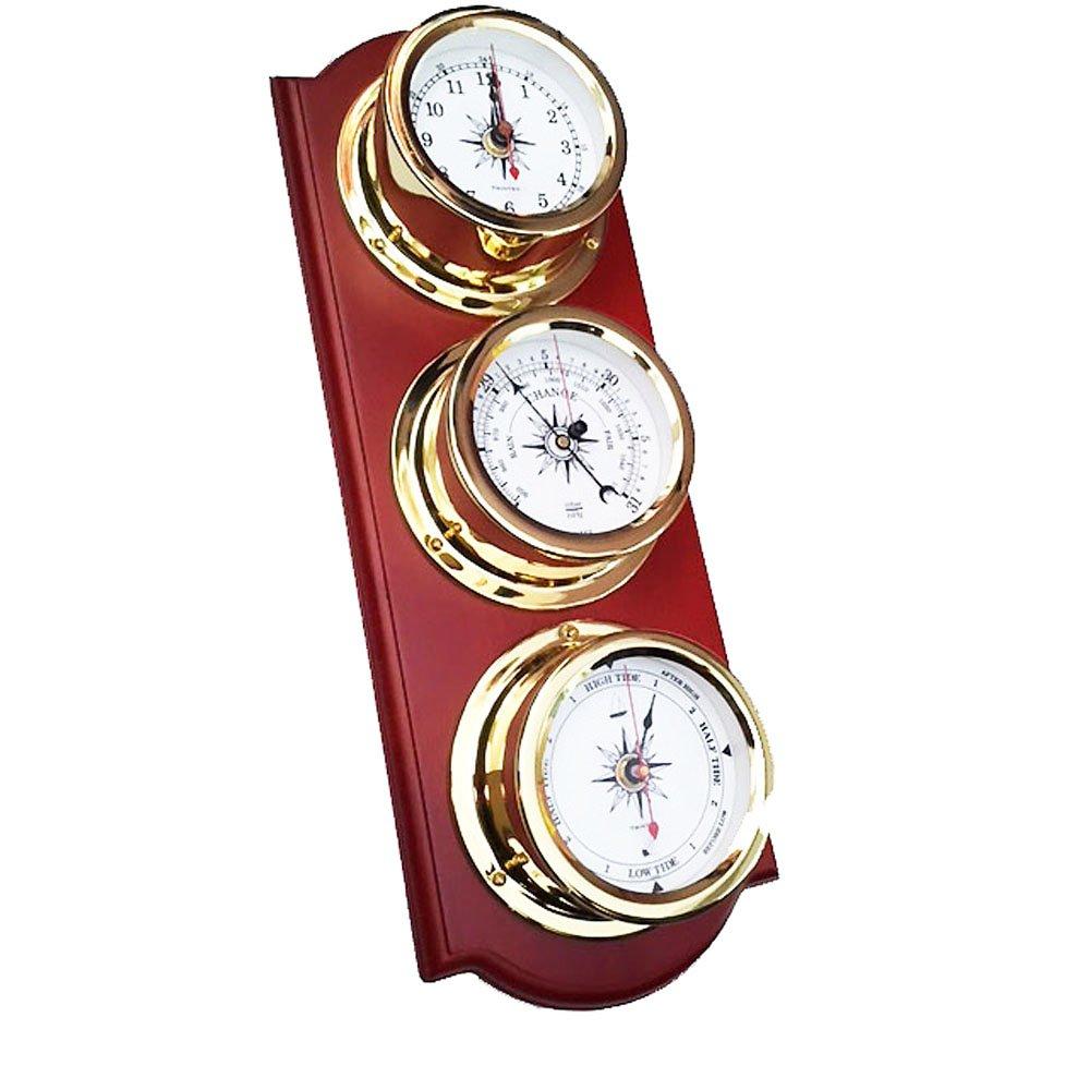 Trintec Euro Weather Station EWS-02 Brass Quartz Clock Barometer Tide Indicator Marine Nautical Dials on Cherry Stained Wood Plaque EWS-01