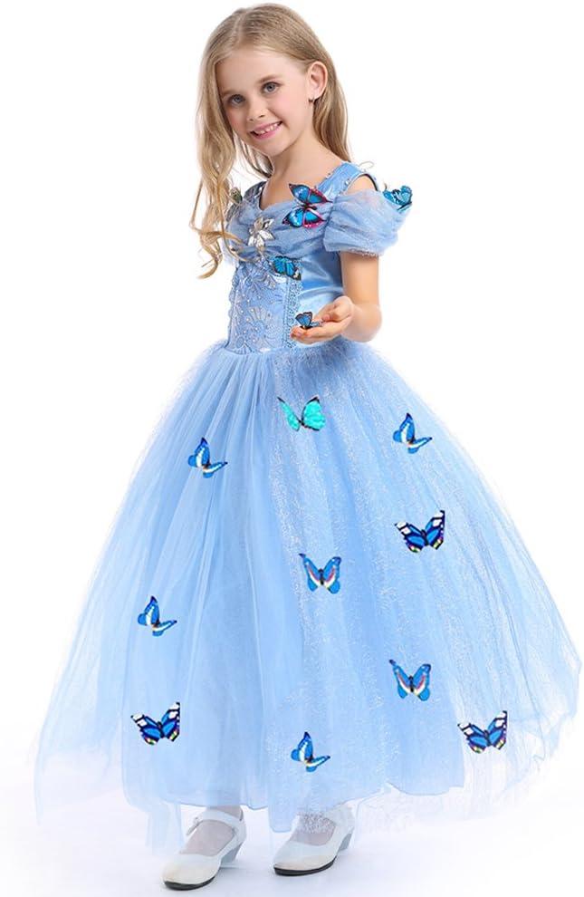 URAQT Princesa Traje del Vestido, Traje de Princesa Azul con Mariposas Vestido Infantil Disfraz de Princesa de Niñas para Fiesta Carnaval Cumpleaños Cosplay Halloween (130)