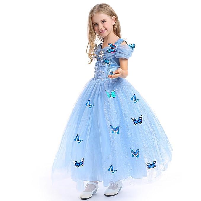 URAQT Princesa Traje del Vestido, Traje de Princesa Azul con Mariposas Vestido Infantil Disfraz de Princesa de Niñas para Fiesta Carnaval Cumpleaños ...