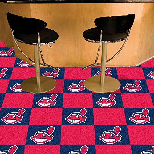 Fanmats MLB Cleveland Indians Team Carpet Tiles, Small, Black