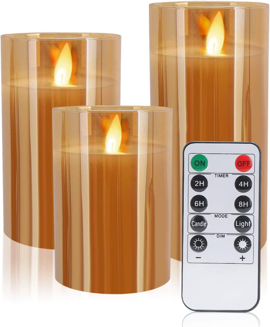 WEWOSKY LED Flameless Candles, Real Wax Glass Shell Flickering Moving Flame Faux Wickless Pillar Candles Battery Operated with Remote and Timer, 4 5 6 Set of 3 Gold