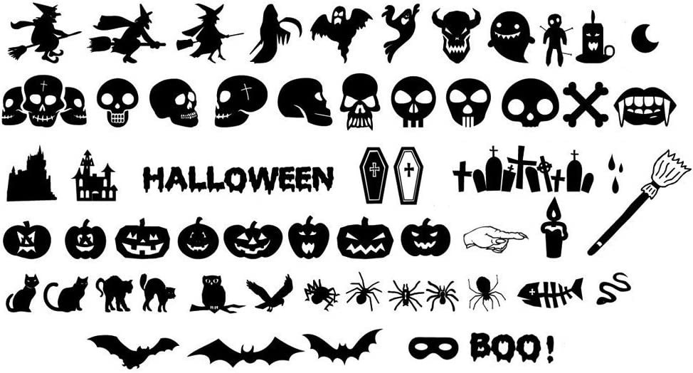 Woodland Arts 55 Decals from 4.5 inches to 6 inches Silhouette Halloween Spooky Cemetery Skeleton Skull Crow Bats Witch Cats Tomb Wall Decals Window Stickers for Kids Rooms Nursery Halloween Party