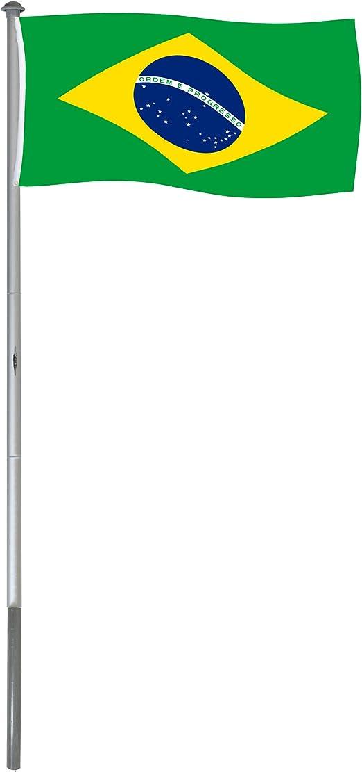 BRUBAKER Mástil Aluminio Exterior 6 m Incluye Bandera de Brasil ...