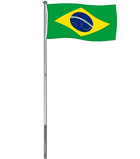 Brubaker Mástil Aluminio Exterior 6 m Incluye Bandera de Brasil 150 x 90 cm y Soporte