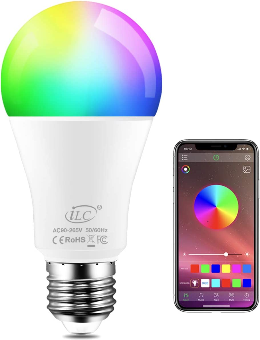 iLC Bombillas Colores LED 8W, E27 RGBW controlada por APP, sincronizada con la música, multicolor Cambio de Color Regulable (equivalente 60W)