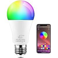 iLC Bombillas Colores LED 8W, E27 RGBW controlada por APP, sincronizada con la música, multicolor Cambio de Color…