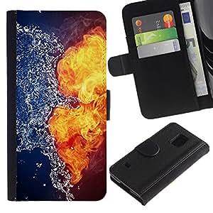 Paccase / Billetera de Cuero Caso del tirón Titular de la tarjeta Carcasa Funda para - Fire Water Yin Yang Opposing Explosion - Samsung Galaxy S5 V SM-G900