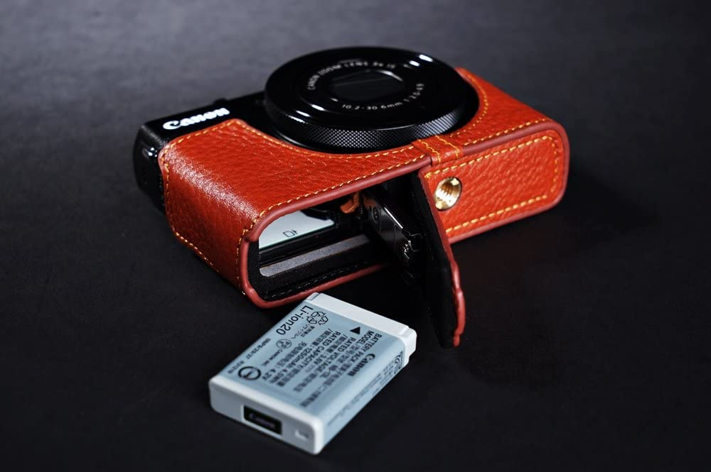 Handmade Genuine Real Leather Full Camera Pouch Case Bag Cover for Canon G9X Bottom Open Brown Color