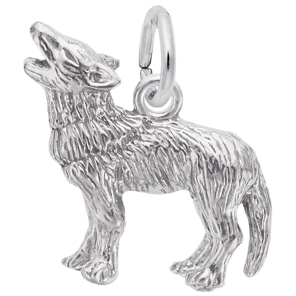 Rembrandt Charms Wolf Charm, Sterling Silver