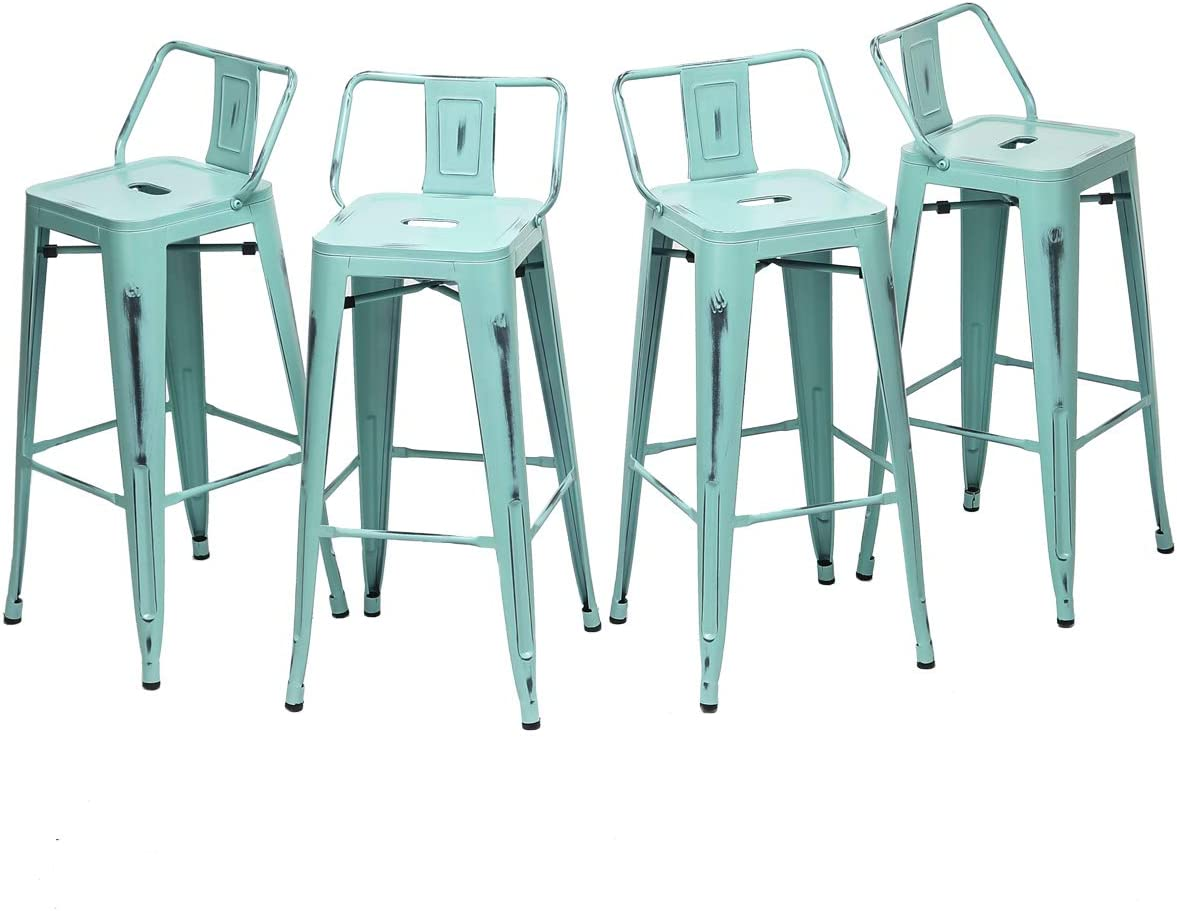 HAOBO Home 30 Low Back Distressed Green-Blue Bar Stools Industrial Metal Barstools Counter Height Stools Set of 4