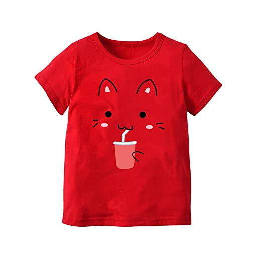 Feixiang Bebé recién Nacido Bebé Niña Impresión de Dibujos Animados Top Letra de Manga Corta Camiseta Niños Moda Casual Patrón de Dibujos Animados de Manga ...