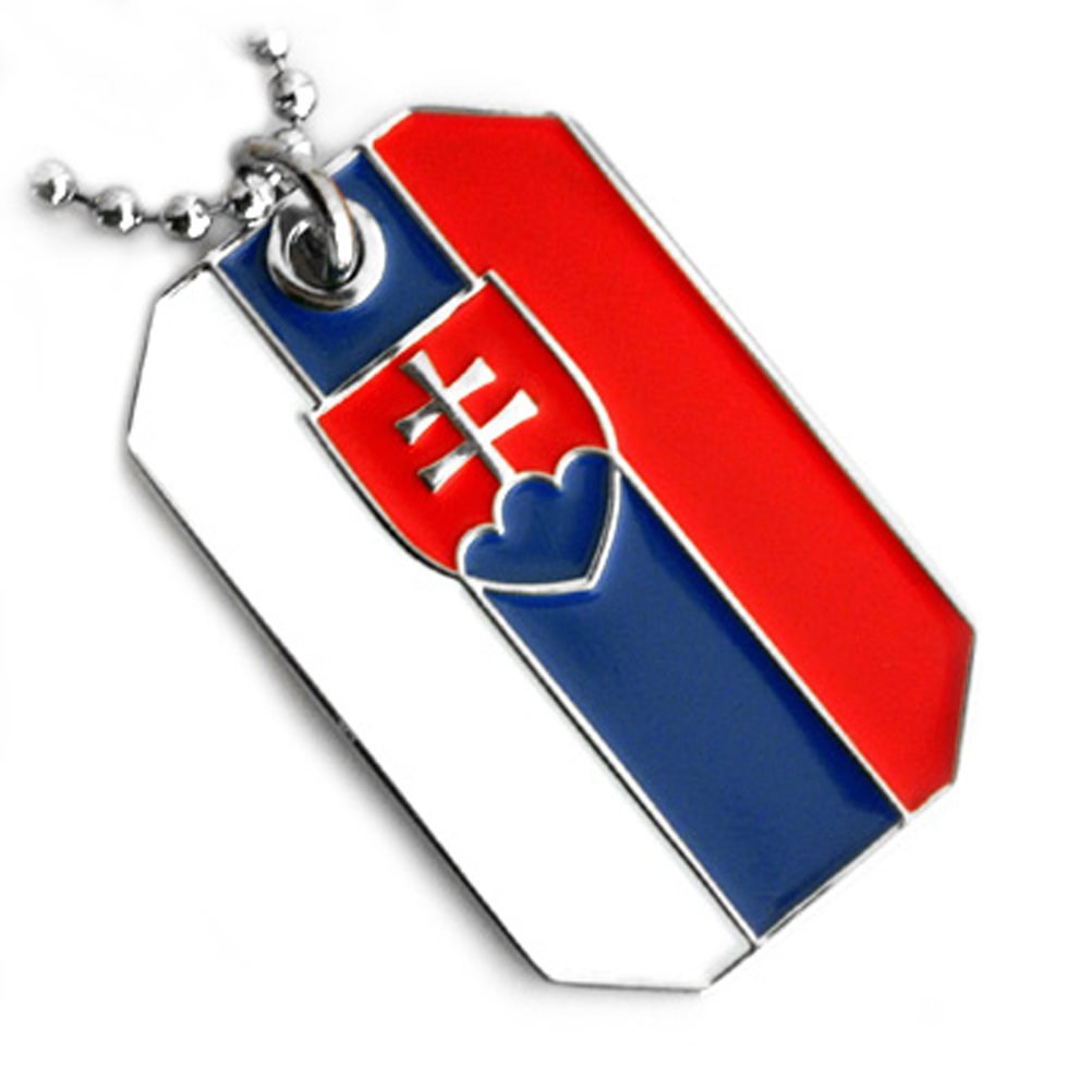SLOVAKIA FLAG LORRAINE CROSS COAT OF ARMS PENDANT DOG TAG NECKLACE NICKLE FREE