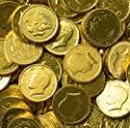 Solid Milk Chocolate Large Kennedy Gold Coins - 2 Full Pounds Bulk Wholesale by Rm Palmer