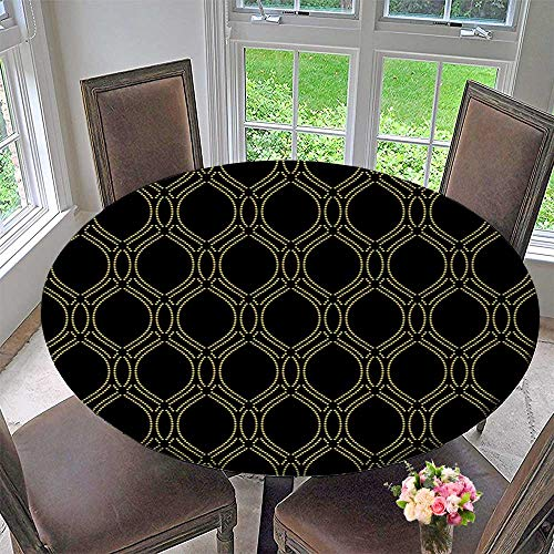 PINAFORE HOME The Round Table Cloth Vector Ornament Stylish darkwith Repeat gen Dotted Wavy for Birthday Party, Graduation Party 40