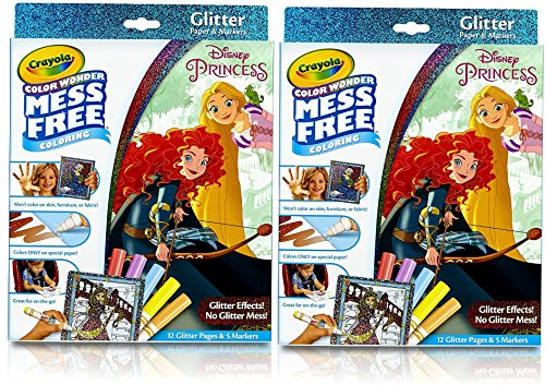 Crayola Color Wonder Glitter Pad & Markers, Princess Toy (2 Pack)